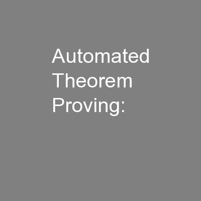 Automated Theorem Proving: