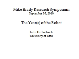 Mike Brady Research Symposium PowerPoint PPT Presentation