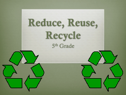 Reduce, Reuse, Recycle PowerPoint PPT Presentation