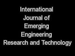 International Journal of Emerging Engineering Research and Technology