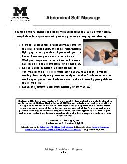 Michigan Bowel Control Program XWKRUHUULHLOO Abdominal Self Massage x