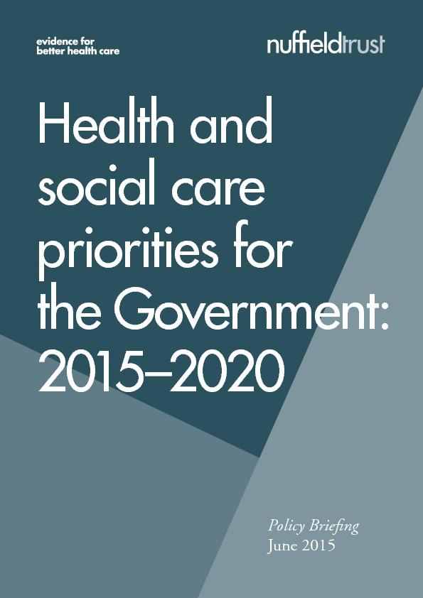 Health andsocial care priorities forthe Government: 2015–2020Poli