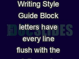 KCI ReaderBased Writing Style Guide Block letters have every line flush with the left margin