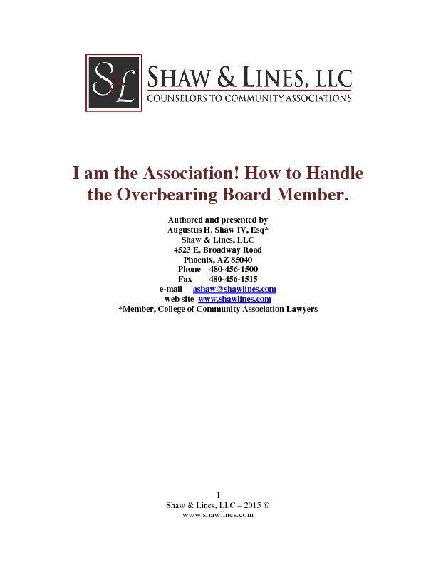 I am the Association! How to Handle the Overbearing Board Member.Autho PowerPoint PPT Presentation