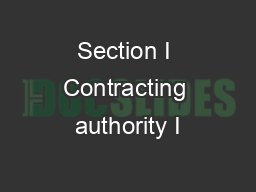 Section I Contracting authority I