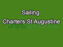 Sailing Charters St Augustine