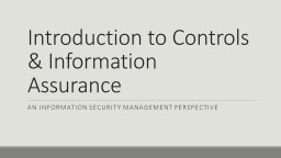 Introduction to Controls & Information Assurance