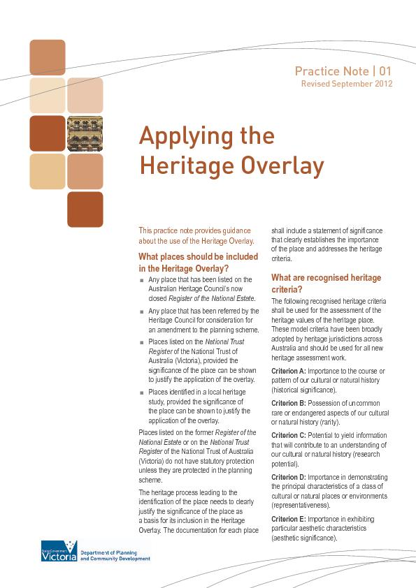 Practice Note | 01 Revised September 2012about the use of the Heritage