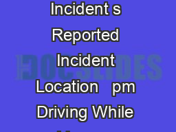 Blotter for February  February  Date Reported Time Reported Criminal Incident s Reported Incident Location   pm Driving While License Suspended  Block of Trophy Lake Drive Following a stop for a traf