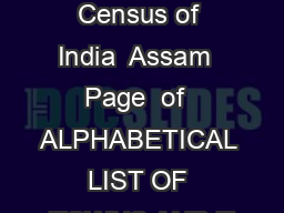 List of towns Census of India  Assam  Page  of  ALPHABETICAL LIST OF TOWNS AND T