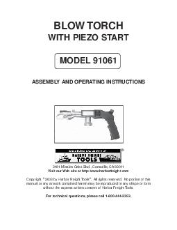 BLOW TORCH WITH PIEZO START MODEL  ASSEMBLY AND OPERATING INSTRUCTIONS  Mission Oaks Blvd