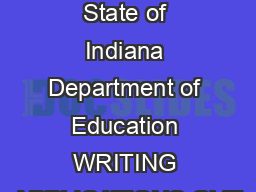 Copyright   by State of Indiana Department of Education WRITING APPLICATIONS OVE
