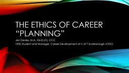 """The ethics of career """"Planning"""""""