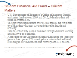 Student Financial Aid Fraud – Current Matters