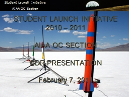 1 STUDENT LAUNCH INITIATIVE PowerPoint PPT Presentation