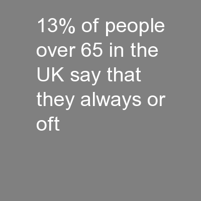 13% of people over 65 in the UK say that they always or oft
