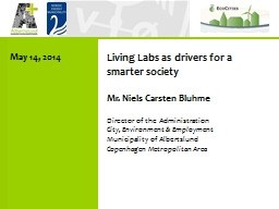 Living Labs as drivers for a smarter society PowerPoint PPT Presentation