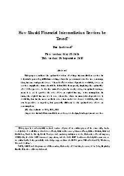 How Should Financial Intermediation Services be Taxed Ben Lockwood First version