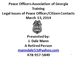 Peace Officers Association of Georgia PowerPoint PPT Presentation