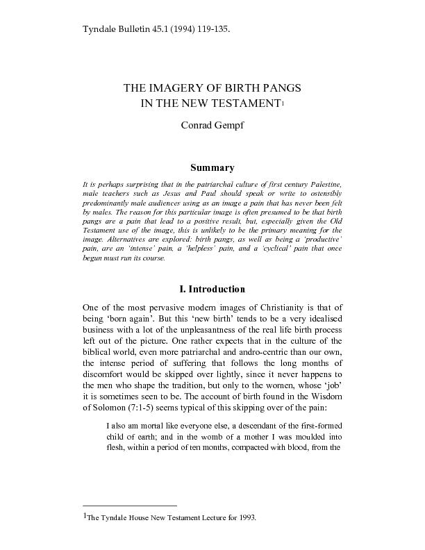 Tyndale Bulletin 45.1 (1994) 119-135. THE IMAGERY OF BIRTH PANGS IN TH