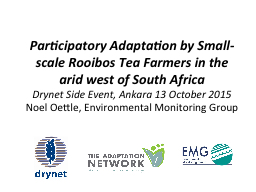 Participatory Adaptation by Small-scale Rooibos