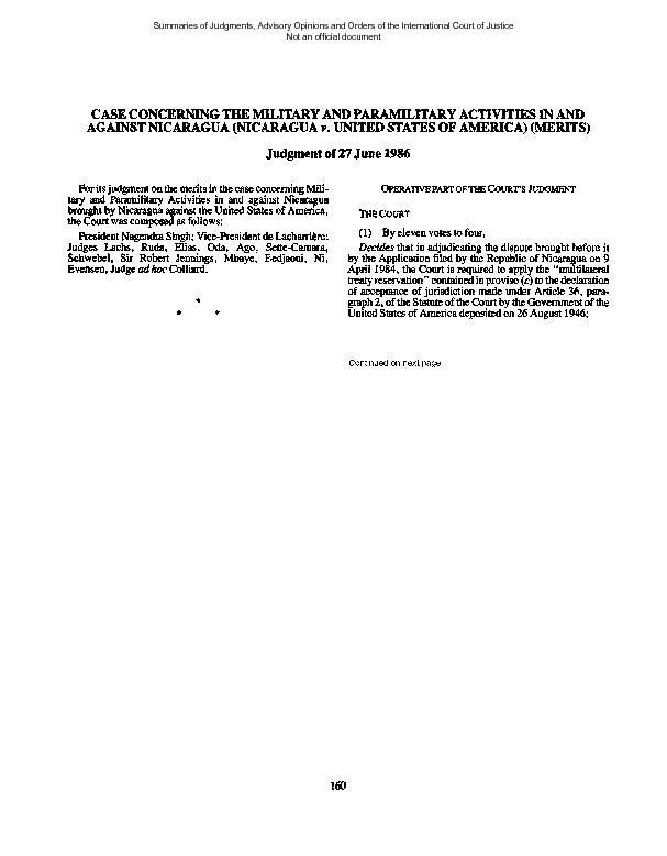 CASE CONCERNING THE MILITARY AND PARAMILITARY ACTIVITIES