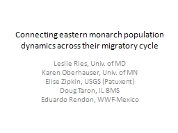Connecting eastern monarch population dynamics across their