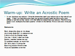 Warm-up: Write an Acrostic Poem PowerPoint PPT Presentation