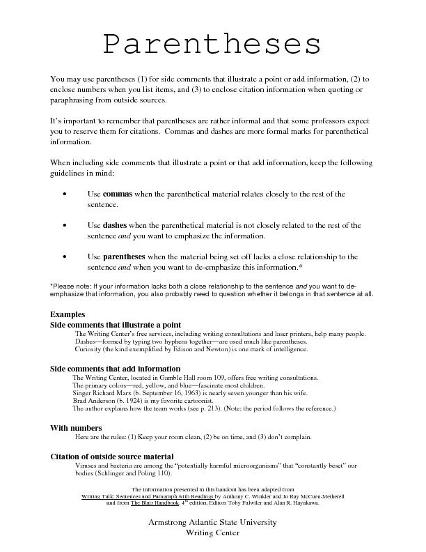 ParenthesesThe information presented in this handout has been adapted