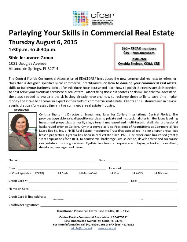Parlaying Your Skills in Commercial Real Estate PowerPoint PPT Presentation