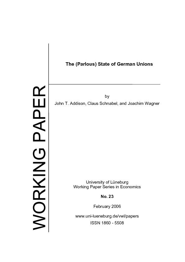 The (Parlous) State of German Unions Working Paper Series in Economics