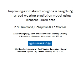Improving estimates of roughness length (Z