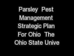 Parsley  Pest Management Strategic Plan For Ohio  The Ohio State Unive