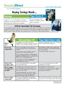 Electronic Bonds  Paper Bonds Series I only A Great Investment for Everyone