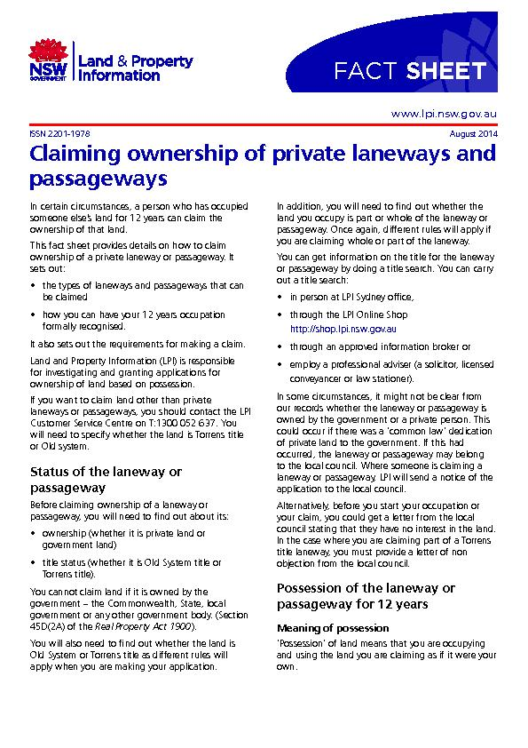 Claiming ownership of private laneways and