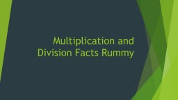 Multiplication and Division Facts Rummy