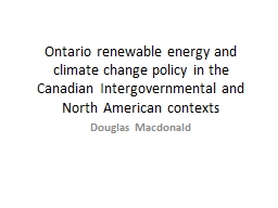Ontario renewable energy and climate change policy in the C