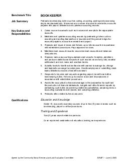 Agreed by the Community Social Services Joint Job Evaluation Committee DRAFT  June   Benchmark Title BOOKKEEPER Job Summary Performs bookkeeping duties such as coding recording posting and processing