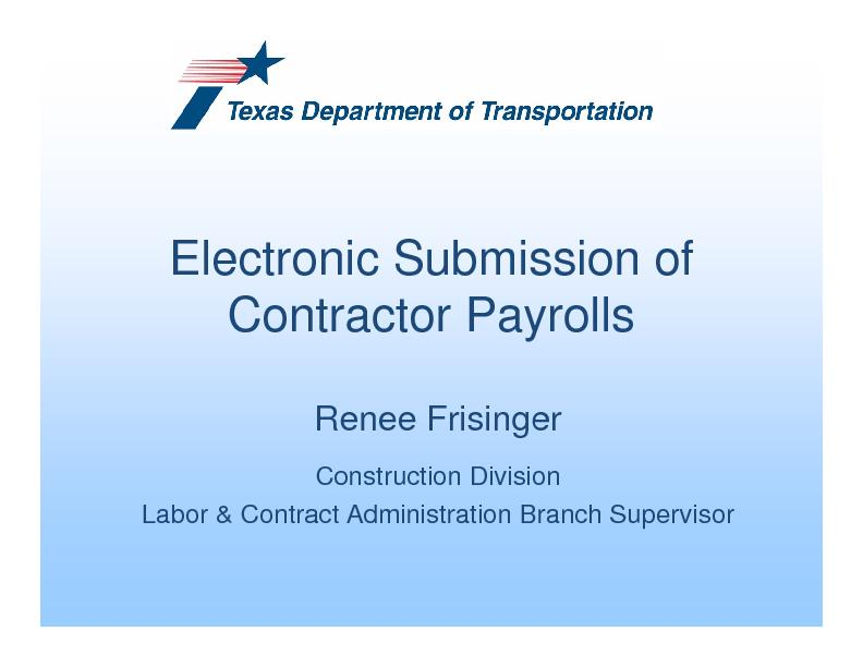 Electronic Submission of Contractor Payrolls