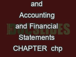 Bookkeeping and Accounting and Financial Statements CHAPTER  chp
