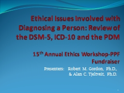 Ethical Issues Involved with Diagnosing a Person: PowerPoint PPT Presentation