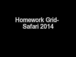 Homework Grid- Safari 2014