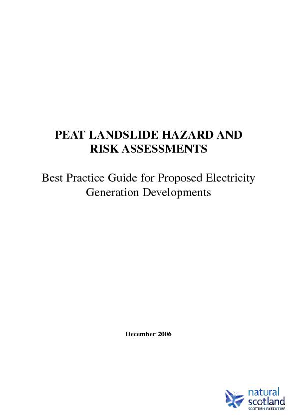PEAT LANDSLIDE HAZARD AND