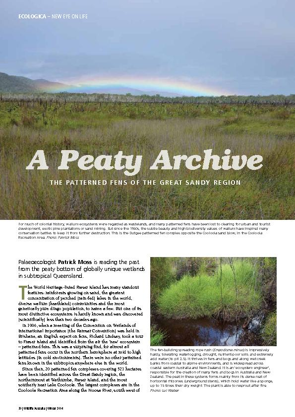 is reading the past from the peaty bottom of globally unique wetlands