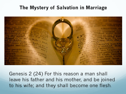 The Mystery of Salvation in Marriage