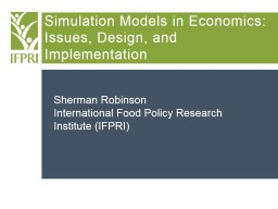 Simulation Models in Economics: Issues, Design, and Impleme