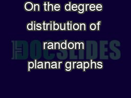On the degree distribution of random planar graphs