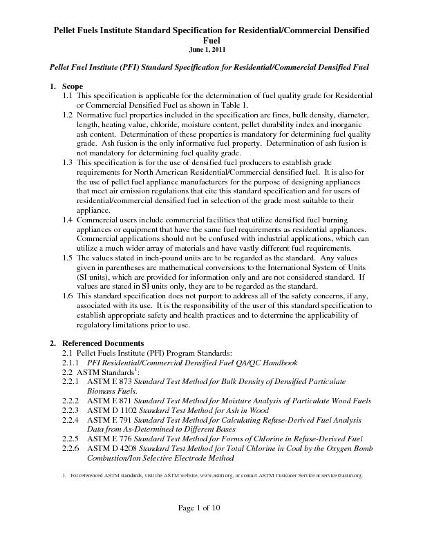June 1, 2011  Page 1 of 10 Pellet Fuel Institute (PFI) Standard Specif