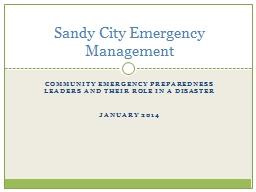 Community Emergency Preparedness Leaders and their role in