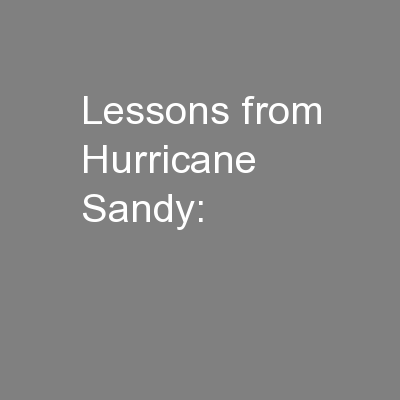 Lessons from Hurricane Sandy: